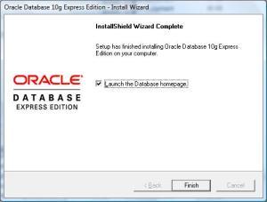 Oracle XE instalācijas beigas