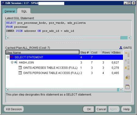 Oracle Enterprise Manger Console izpildes plāns