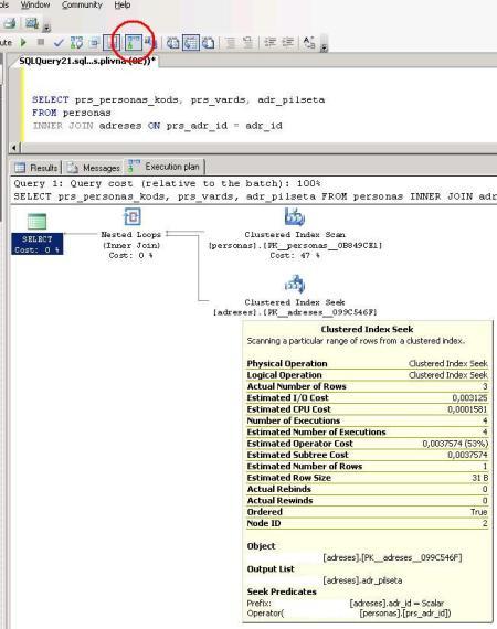 SQL Server reālais izpildes plāns