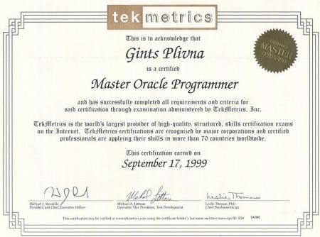 Tekmetrics (tagad Brainbench) sertifikāts